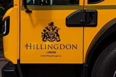 Hillingdon Council logo on door of waste truck