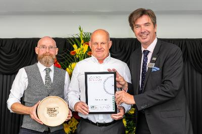 Paul Richards and Stuart Hunt collect Eastcote Village award